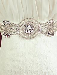strass luxo de casamento da noiva cinto cinto branco de organza / liga