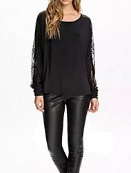 Camisetas ( Algodón/Malla )- Casual Redondo Manga Larga para Mujer