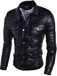 Men's Fashion Multi Pocket PU Leather Jacket