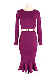 Aier Women's Solid Color Purple Dresses , Bodycon / Party Round Long Sleeve