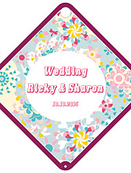 Personalized Rhombus Wedding Favor Tags - Pink Design (Set of 36)