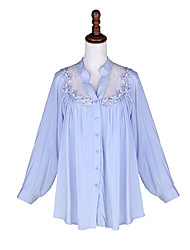 Women's Solid/Lace Blue/Pink/White Shirt , Casual/Party Shirt Collar Long Sleeve Lace