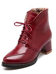 Zapatos de mujer Semicuero Tacón Robusto Punta Redonda Botas Casual Negro/Marrón/Bermellón