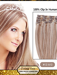 "20 ""# 12/613 7pcs klem in remy human hair extensions"