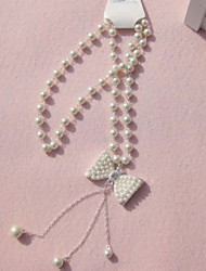 Korean Bow And Pearl Sweater Chain Cute/Casual Imitation Pearl Pendant Necklace