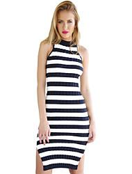 Women's Striped Blue Dress , Casual Sleeveless
