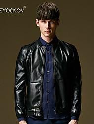 BEYOCKON 2015 Men's fashion new leather jacket,The Korean version of slim leather coat