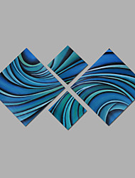 Hand-Painted Oil Painting on Canvas Wall Art Abstract Contempory Blue Color Four Panel Ready to Hang