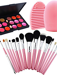 15Pcs Pro Cosmetic Make Up Brush Set Lipbrush Superior Soft+Gorgeous Lipsticks Lip Gloss+ Scrubber Cleaning Tool Glove