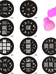 10PCS Nail Art Image Stamp Plate + Stamper Scraper