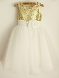 Princess Knee-length Flower Girl Dress - Satin / Tulle / Sequined Sleeveless Scoop with