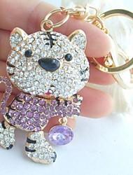 Charming Tiger Key chain With Purple & Clear Rhinestone crystals