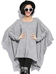 YOULANYASI®Women's Round Neck T-shirt , Cotton/Elastic Long Sleeve