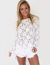 Women's Round Neck Stand Lace Hollow Out Embroidery Criss-Cross Backless Blouse , Lace Long Sleeve