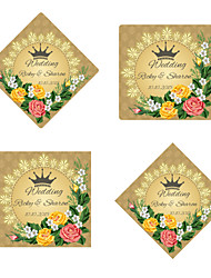 Personalized Wedding Tags Address Labels Envelope Sticker Green Pattern Of Filmed Paper