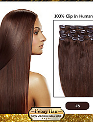 "18 ""lichtbruin (# 6) klem in remy human hair extensions"