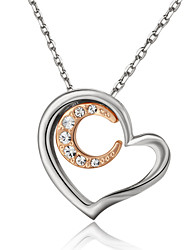 HKTC Elegant Bridal Jewelry 18k White Gold Plated Crystal Heart and Moon Pendant Necklace