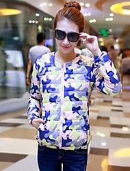 Women's Round Flower Coats & Jackets , Polyester Casual Long Sleeve BLS