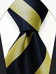PS27  Men's Neckties Dress Classic Navy Blue Yellow 100% Silk Business Handmade For Men