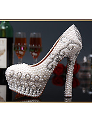 Women's Shoes Leather/Glitter Stiletto Heel Heels/PlatformHeels Wedding/Party & Evening/Dress WhiteTXF-SHOES0003