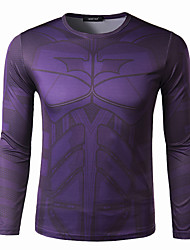 Men's Long Sleeve T-Shirt , Elastic/Others Casual/Sport Print