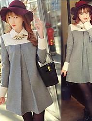Women's Solid Color Gray Coats & Jackets , Casual Shirt Collar Long Sleeve