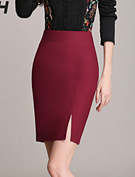 Women's Solid Red/Black Skirts , Bodycon/Work Above Knee