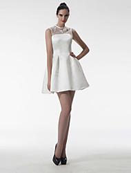 Short/Mini Satin Bridesmaid Dress - Silver A-line Jewel