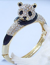 Lovely Bear Panda Bracelet bangle With Clear Rhinestone crystals