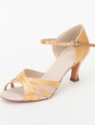 Non Customizable Women's Dance Shoes Ballroom/Latin/Salsa Satin Stiletto Heel Gold