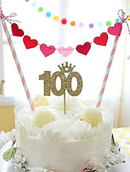 Heart Birthday Cake Bunting Banner Kit Topper 7 Red and Pink Hearts DIY Cake Decoration Kit