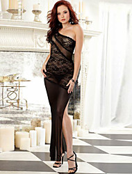 New Arrival Cheap Womens Dresses Black Lace Beautiful Summer Dress One Shoulder Long Sexy Lingerie