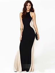 Clubwear Dresses Women's Performance Cotton/Elastic Silk-like Satin 1 Piece Black