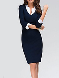 Women's Asymmetrical Plus Size Dress , Knitwear Knee-length ¾ Sleeve