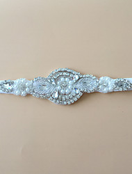 Garter Stretch Satin Rhinestone White