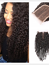"1pc/lot 8""-30""Top Lace Closure Brazilian Unprocessed Virgin Kinky Curly Middle Part Hair Bleached Knots"
