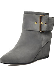 Women's Shoes Wedge Heel Wedges/Pointed Toe Boots Dress/Casual Black/Blue/Gray