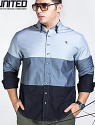 H-U Men Big Size 2XL-6XL Regular-Fit Long Sleeve Classic Color Block Twill Dress Shirts with Contrast Collar