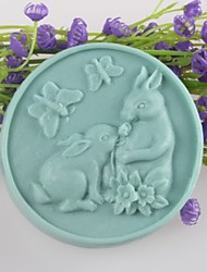 Two Rabbits Butterfly Shaped Soap Molds Mould Fondant Cake Chocolate Silicone Mold, Decoration Tools Bakeware