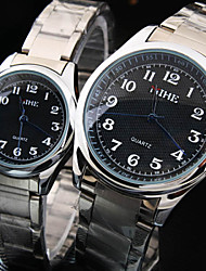 Couple's New Business Round Rome Number Dial Stainless Steel Band Fashion Waterproof Quartz Watch(1-Pair)