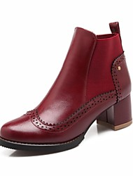 Women's Shoes Chunky Heel Combat Boots/Round Toe/Closed Toe Boots Outdoor/Casual Black/Brown/Burgundy