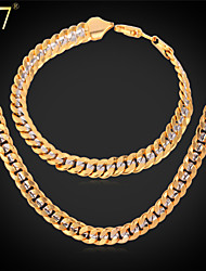 U7® Men's Two Tone Gold Plated Chunky Bracelet Platinum 18K Real Gold Plated Fashion Chain Necklace Set