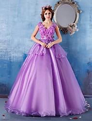 Formal Evening Dress Ball Gown V-neck Floor-length Satin / Tulle with Flower(s)
