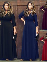 Robes ( Coton mélangé/Polyester ) Bodycon Col V à Manche 3/4 pour Femme