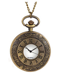 Mulheres Relógio de Bolso Quartzo Gravação Oca Lega Banda Bronze