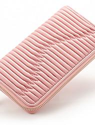 Women Casual Sheepskin Zipper Clutch/Wallet/Black/Blue/Plum/Pink