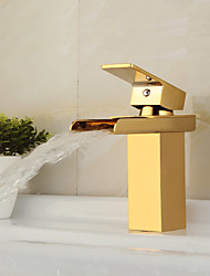 Contemporary Brass Waterfall Ti-PVD Bathroom Sink Faucet