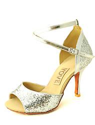 Customizable Women's Dance Shoes Satin Satin Latin / Salsa Sandals Customized Heel Practice / Beginner / Professional / IndoorBlack / Red