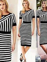 Women's Striped Black Dresses , Bodycon Round Short Sleeve