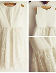A-line Ivory Knee-length Flower Girl Dress - Lace Sleeveless